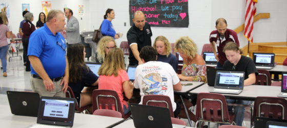 Flour Bluff ISD and Port Aransas ISD staff assist families displaced by Hurricane Harvey in registering in FBISD